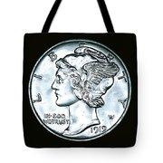 Black Silver Mercury Dime Tote Bag