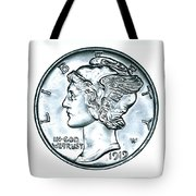 Silver Mercury Dime Tote Bag