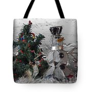 Silver Snowman With Christmas Tree Tote Bag