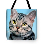 Silver Tabby Kitten Original Painting For Sale Tote Bag