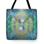 Silver Torquoise Chalicell Ring Flower Of Life Matrix II Tote Bag