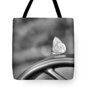 Silver White Butterfly Tote Bag