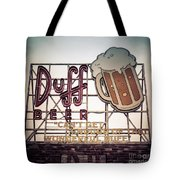 Simpsons Duff Beer Neon Sign Tote Bag