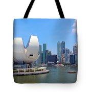 Singapore Artscience Museum And City Skyline Tote Bag