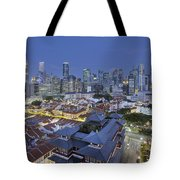 Singapore Central Business District Over Chinatown Blue Hour Tote Bag