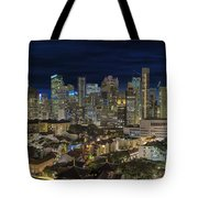 Singapore Central Business District Skyline And Chinatown At Dus Tote Bag