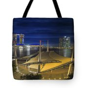 Singapore Central Business District Skyline At Dusk Tote Bag