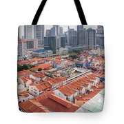 Singapore Chinatown With Modern Skyline Tote Bag