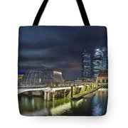 Singapore City By The Fullerton Pavilion At Night Tote Bag