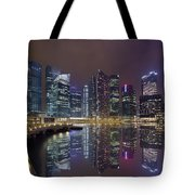 Singapore City Skyline Along Marina Bay Boardwalk At Night Tote Bag
