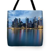 Singapore City Skyline At Blue Hour Tote Bag