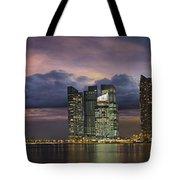 Singapore City Skyline At Sunset Panorama Tote Bag