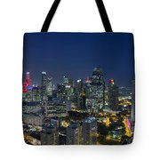 Singapore Cityscape At Blue Hour Tote Bag