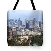 Singapore Financial District Skyline At Dusk Tote Bag