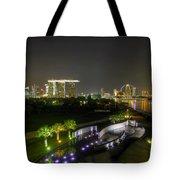 Singapore Night Skyline From Marina Barrage Tote Bag