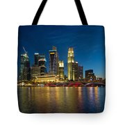 Singapore River Waterfront Skyline At Blue Hour Tote Bag