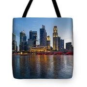 Singapore River Waterfront Skyline At Sunset Tote Bag