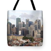 Singapore Skyline Along Chinatown Area Tote Bag
