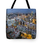 Singapore Skyline Along Singapore River Tote Bag