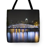 Singapore Skyline By Anderson Bridge At Night Tote Bag