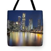 Singapore Skyline By Boat Quay Vertical Tote Bag