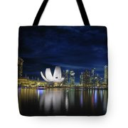 Singapore Skyline By River Waterfront At Dusk Tote Bag