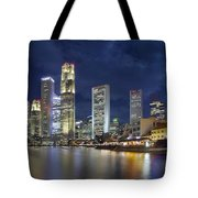 Singapore Skyline From Boat Quay Tote Bag