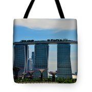 Singapore Skyline With Marina Bay Sands And Gardens By The Bay Supertrees Tote Bag