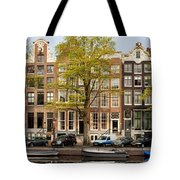 Singel Canal Houses In Amsterdam Tote Bag