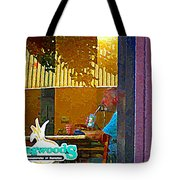 Sipping A Seven Up At Dagwoods Window Seat At The Sandwich Shop Montreal Summer Scene Carole Spandau Tote Bag