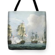 Sir Richard Strachans Action After The Battle Of Trafalgar Tote Bag by Thomas Whitcombe