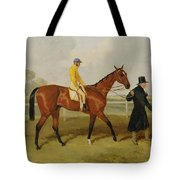 Sir Tatton Sykes Leading In The Horse Sir Tatton Sykes With William Scott Up Tote Bag