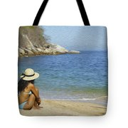 Sitting At The Beach Tote Bag
