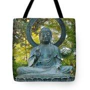 Sitting Bronze Buddha At San Francisco Japanese Garden Tote Bag