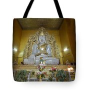 sitting Buddha made from one single marble block in KYAUKTAWGYI PAGODA Tote Bag