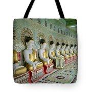 sitting Buddhas in Umin Thonze Pagoda Tote Bag