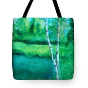 Sitting By The Pond Tote Bag