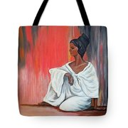 Sitting Lady In White Next To A Red Wall Tote Bag