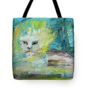 Sitting Lion Oil Portrait Tote Bag