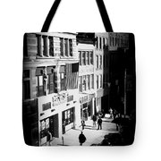 Six O'clock On The Street - Black And White Tote Bag