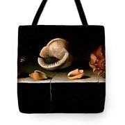 Six Shells On A Stone Shelf Tote Bag