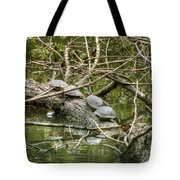 Six Turtle On A Log Tote Bag