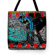 Skate Board Hi Low Red Letters Tote Bag