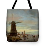 Skaters On A Frozen Waterway Tote Bag