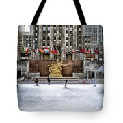 Skating At Rockefeller Plaza Tote Bag