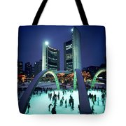 Skating In Nathan Phillips Square, City Tote Bag by Peter Mintz