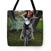 Skeleton Biker On Motorcycle  Tote Bag
