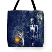 Skeleton With Jack O Lantern Tote Bag