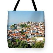 Skiathos Harbour In Greece Tote Bag