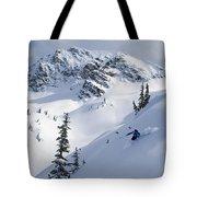Skier Shredding Powder Below Nak Peak Tote Bag